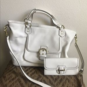 Coach Campbell Izzy Ivory Leather Satchel & Wallet